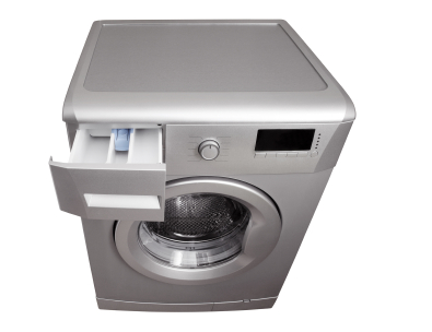 Picture of a washing machine with the soap drawer open