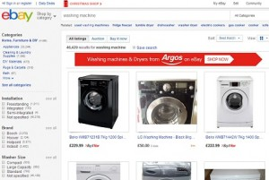 Selection of second hand washing machines on Ebay