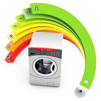 picture of a tumble dryer with an energy efficiency colour template