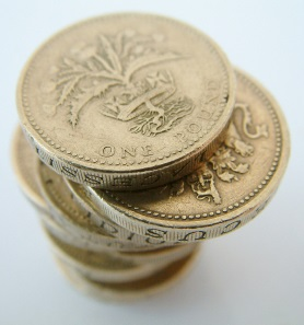 Picture of a pile of pound coins signifying the cost of running an appliance