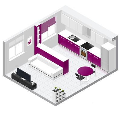 Picture of a compact flat with a combined kitchen and living room