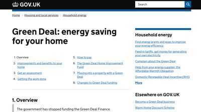 picture of the governments green deal website