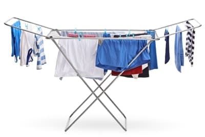 picture of washing hanging on an airing rack