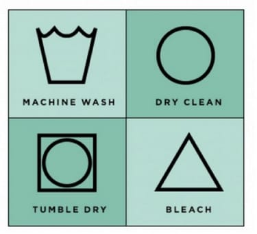 label showing the various laundry symbols